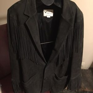 Jackets & Blazers - Vintage fringe leather jacket hunter green